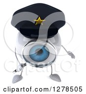 Clipart Of A 3d Blue Police Eyeball Character Looking Down Through A Magnifying Glass Royalty Free Illustration
