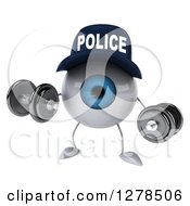 Clipart Of A 3d Blue Police Eyeball Character Working Out With Dumbbells Royalty Free Illustration