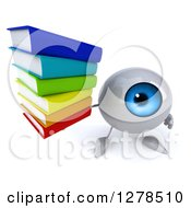 3d Blue Eyeball Character Holding Up A Stack Of Books