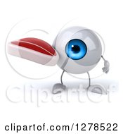 Clipart Of A 3d Blue Eyeball Character Holding A Beef Steak Royalty Free Illustration