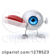 Clipart Of A 3d Blue Eyeball Character Holding A Thumb Up And A Beef Steak Royalty Free Illustration