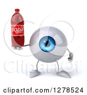 Clipart Of A 3d Blue Eyeball Character Holding A Soda Bottle Royalty Free Illustration