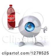Clipart Of A 3d Blue Eyeball Character Holding A Thumb Down And A Soda Bottle Royalty Free Illustration