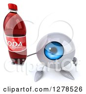 Clipart Of A 3d Blue Eyeball Character Holding Up A Soda Bottle Royalty Free Illustration