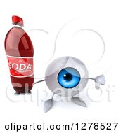 Clipart Of A 3d Blue Eyeball Character Holding Up A Soda Bottle And Thumb Down Royalty Free Illustration