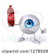 Clipart Of A 3d Blue Eyeball Character Shrugging And Holding A Soda Bottle Royalty Free Illustration