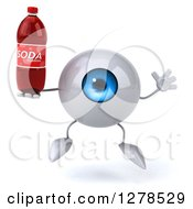 Clipart Of A 3d Blue Eyeball Character Jumping And Holding A Soda Bottle Royalty Free Illustration