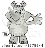 Clipart Of A Happy Rhino Standing And Waving Royalty Free Vector Illustration