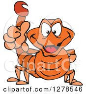 Clipart Of A Grinning Orange Scorpion Holding A Thumb Up Royalty Free Vector Illustration