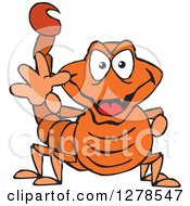 Clipart Of A Grinning Orange Scorpion Waving Royalty Free Vector Illustration