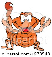 Clipart Of A Grinning Orange Scorpion Royalty Free Vector Illustration