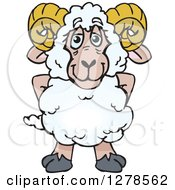 Clipart Of A Happy Ram Sheep Standing Royalty Free Vector Illustration