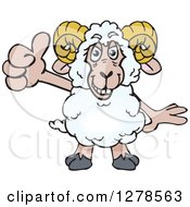 Clipart Of A Happy Ram Sheep Holding A Thumb Up Royalty Free Vector Illustration