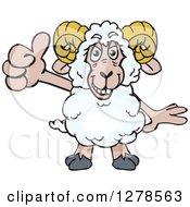 Happy Ram Sheep Holding A Thumb Up