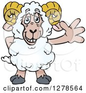 Clipart Of A Happy Ram Sheep Waving Royalty Free Vector Illustration by Dennis Holmes Designs