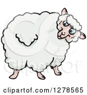 Clipart Of A Sheep Looking Back Royalty Free Vector Illustration