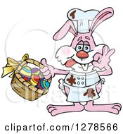Pink Easter Bunny Cheff With Chocolate Splatters And A Basket Of Eggs