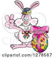 Pink Easter Bunny Gesturing Peace By An Egg