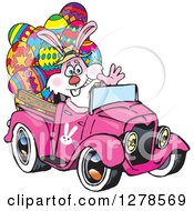 Clipart Of A Pink Easter Bunny Waving And Driving A Pink Pickup Truck Full Of Eggs Royalty Free Vector Illustration