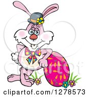 Pink Easter Bunny Leaning On An Egg