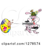 Pink Easter Bunny Using A Paintball Gun To Decorate An Egg