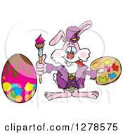 Pink Easter Bunny Artist Painting An Egg