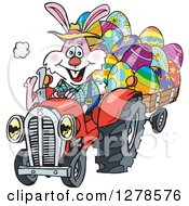 Clipart Of A Pink Easter Bunny Pulling A Cart Of Eggs With A Tractor Royalty Free Vector Illustration by Dennis Holmes Designs