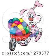 Pink Easter Bunny Pushing A Wheelbarrow Of Eggs