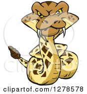 Clipart Of A Happy Rattlesnake With His Hands Behind His Back Royalty Free Vector Illustration