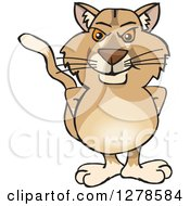 Clipart Of A Puma Cougar Standing Royalty Free Vector Illustration