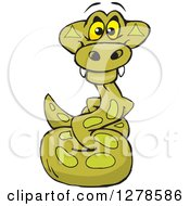Clipart Of A Happy Python Snake Royalty Free Vector Illustration
