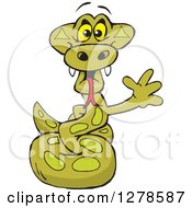 Clipart Of A Happy Python Snake Waving Royalty Free Vector Illustration