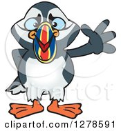Clipart Of A Happy Puffin Bird Waving Royalty Free Vector Illustration by Dennis Holmes Designs