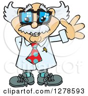 Clipart Of A Happy White Male Senior Scientist Professor Waving Royalty Free Vector Illustration