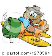 Clipart Of A Happy Scarecrow Holding A Thumb Up And Flying A Plane Royalty Free Vector Illustration