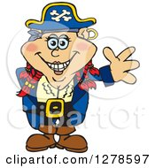 Clipart Of A Happy Red Haired Female Pirate Waving Royalty Free Vector Illustration by Dennis Holmes Designs