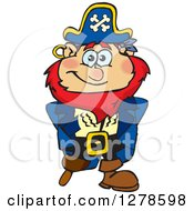 Clipart Of A Happy Red Haired Male Pirate Royalty Free Vector Illustration