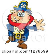 Clipart Of A Happy Red Haired Male Pirate Waving Royalty Free Vector Illustration