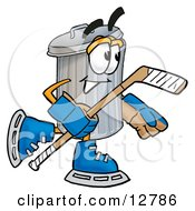 Clipart Picture Of A Garbage Can Mascot Cartoon Character Playing Ice Hockey
