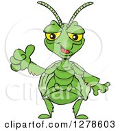 Clipart Of A Happy Praying Mantis Holding A Thumb Up Royalty Free Vector Illustration