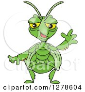 Clipart Of A Happy Praying Mantis Waving Royalty Free Vector Illustration