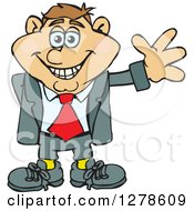 Clipart Of A Happy Smiling White Business Man Waving Royalty Free Vector Illustration by Dennis Holmes Designs