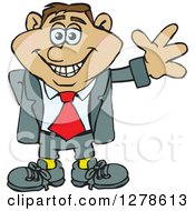 Clipart Of A Happy Smiling Hispanic Business Man Waving Royalty Free Vector Illustration
