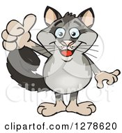 Clipart Of A Happy Possum Holding A Thumb Up Royalty Free Vector Illustration