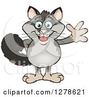 Clipart Of A Happy Possum Waving Royalty Free Vector Illustration