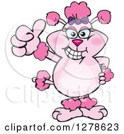 Clipart Of A Happy Pink Poodle Dog Holding A Thumb Up Royalty Free Vector Illustration by Dennis Holmes Designs