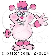 Clipart Of A Happy Pink Poodle Dog Waving Royalty Free Vector Illustration by Dennis Holmes Designs