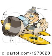 Clipart Of A Happy Male Thanksgiving Pilgrim Holding A Thumb Up And Flying A Plane Royalty Free Vector Illustration