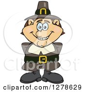 Clipart Of A Happy Male Thanksgiving Pilgrim Royalty Free Vector Illustration by Dennis Holmes Designs