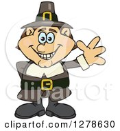 Clipart Of A Happy Male Thanksgiving Pilgrim Waving Royalty Free Vector Illustration by Dennis Holmes Designs
